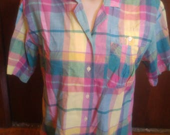 """Vintage 80's all cotton pastel Madras blouse by """"KORET Francisca"""" with cute accents size Medium"""