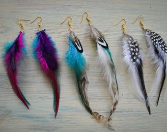 Feather earrings / Long feather earrings / Brown blue feather earrings / White black feather earrings / Drop Earrings   Festival accessories