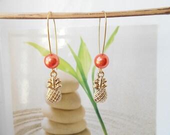 Pineapple pendant earrings