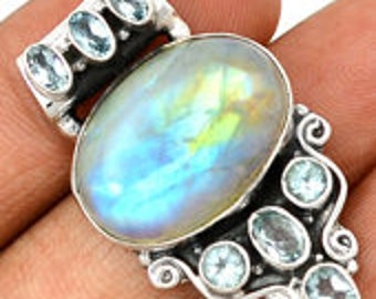 Romance Rainbow Moonstone and Blue Topaz Pendant
