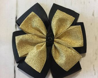 Black and Gold Christmas Hair bow Black and Gold pinwheel  Hair Bow Christmas Hair Bow Holiday Hair Clip Girls Hair Bow