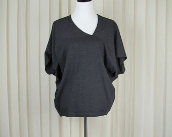 SUMMER SALE 40% OFF! Dark Grey Blouse with on Asymmetrical neckline • Women office wear • Women tunic top • Loose fit