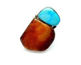 Vintage 1990s Amber, Turquoise and Sterling Silver Large Statement Southwestern Chunky Adjustable Ring Size 7