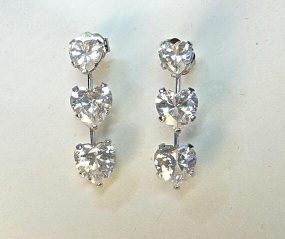 WHITE GOLD 10K ~ Cubic Zirconia Earrings ~ Triple Heart Journey Earrings ~ Beautiful Faux Diamond Earrings