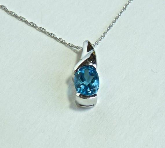 BLUE TOPAZ PENDANT 14k White Gold Mount and Chain ~ !4k White Gold Chain and Blue Topaz Pendant ~ Modernist Necklace ~ Minimalist Necklace