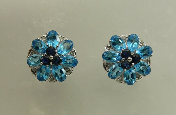 Blue Topaz and Sapphire Earrings, 14K White Gold and Diamonds 0.12ct