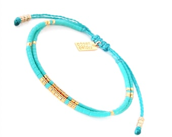 Turquoise Seed Bead Bracelet with Gold Vermeil Beads, Boho Chic Layering bracelet,  Turquoise jewelry
