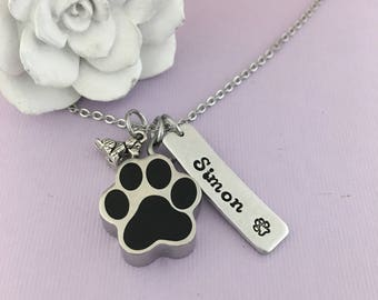 Pet Urn Necklace, Sympathy Pet Necklace, Pet Death, Pet Passing, Cremation Jewelry, Custom Name, Dog Paw Urn, Cat Paw Urn, Hand Stamped