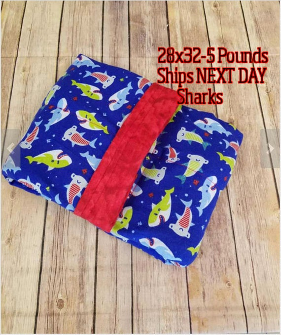 Shark, Ocean, 5 Pound, WEIGHTED BLANKET, Ready To Ship, 5 pounds, 28x32, for Autism, Sensory, ADHD, Calming, Anxiety,