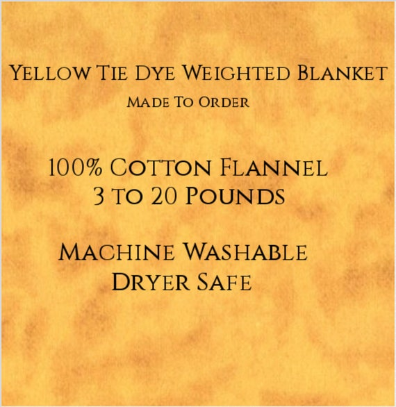 Solid Color, Weighted Blanket, Yellow Tie Dye, Up to Twin Size 3 to 20 Pounds,  Calming, Heavy Blanket, SPD, Autism, Weighted Blanket.