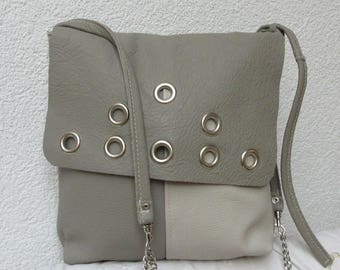 Leather bag grey two-tone with eyelets