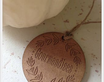 Set of 25 tags in wood with writing * treats * D4cm