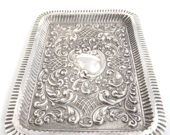 Edwardian Solid Silver Dressing Table Tray 1905