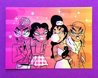 "Girls Art Print - 4""x6"" Print, Feminism, Galentines Print, Girl Power, Friendship, Sassy girls, Over it, big mood"