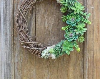 Succulent Wreath, Spring Wreath, Summer Wreath, Succulent Decor, Green Wreath, Natural Wreath, Faux Succulent Wreath, Rustic Wreath