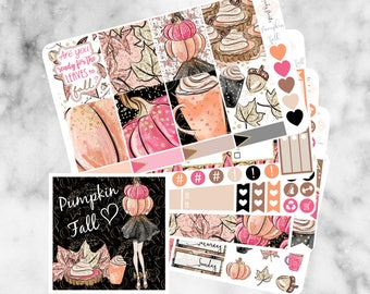 W65 Pumpkin Fall ECLP VERTICAL Weekly Kit, Planner Stickers, Erin Condren, Sticker Kit, Fall stickers, Autumn kit, Pumpkin pie, Pumpkin kit