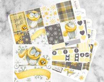 W156 Wintery Owl ECLP VERTICAL Weekly Kit, Planner Stickers, Erin Condren, Sticker Kit, Winter Kit, Owl Stickers, Owl kit, Winter weekly