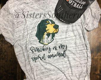 Smokey is my spirit animal Shirt, Tennessee Vols Shirt, TN Volunteers, Women's Tennessee Shirt, Tennessee Shirt, Tennessee Football Shirt