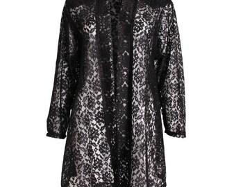 A vintage 1990s Black Lace Jacket by Oscar de la Renta M