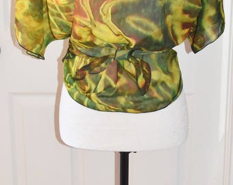 Boho Style Clothing |  Camo Wearable Art | Festival Clothes | Draped Chiffon Cardigan | Jackets | Green Tops | Travel Wear | For Her