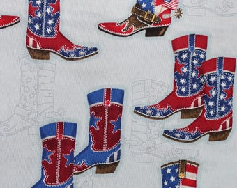 Red White and Blue:  a cowboy boots pattern by Mary Lake-Thompson for Robert Kaufmann.