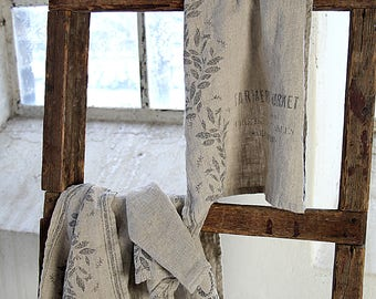 Rustic medium size 100% linen towel - Natural thick stonewashed linen towels - Simple rustic kitchen\tea\hand towels - Towel with pattern