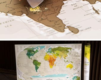 "World Map Scratch Off Travel Map with Push Pins 34.6"" x 23.6"""