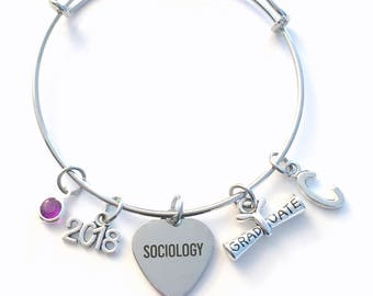 Gift for Sociology Graduation Bracelet, 2018 Social Worker Student Grad Bangle, Jewelry Graduate Charm Scroll Initial women her present 2019