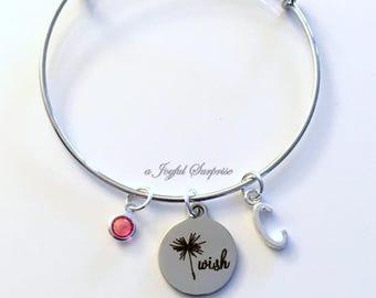 Dandelion Wish Bracelet, Wish jewelry, Make a Wish Graduation Bangle, Grad Gift, Silver Charm Bangle initial birthstone, letter Personalized