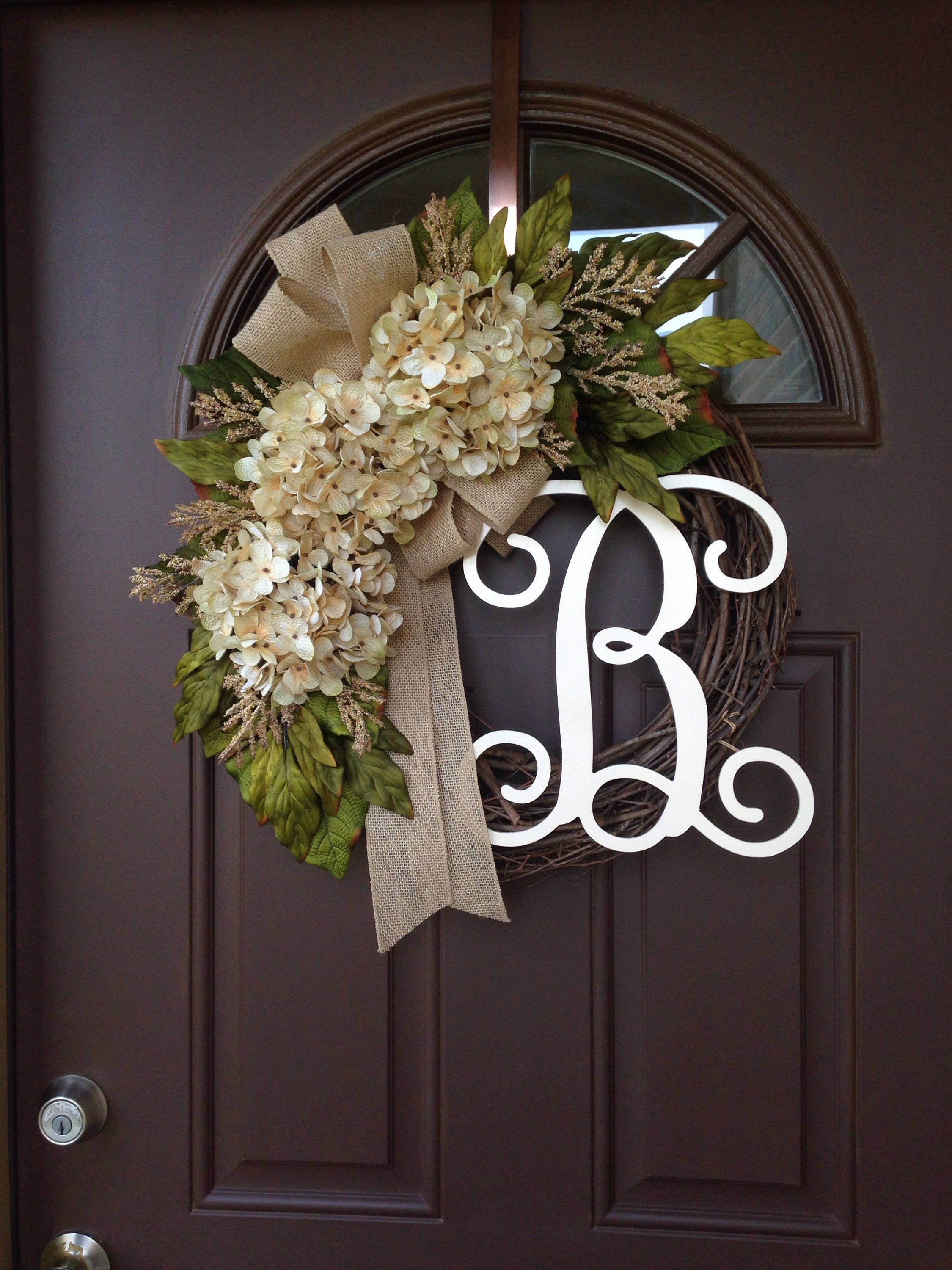 Summer Wreath Year Round Front Door Decor Cream Hydrangea