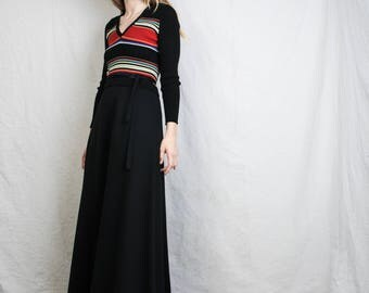 AMAZING Vintage 70s Boho Maxi Dress / S / hipster dress knit dress long dress striped dress