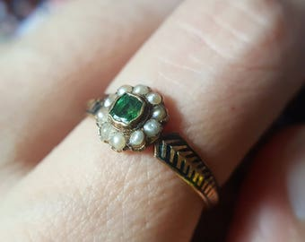 Mourning Ring | Antique Emerald Ring | Victorian Engagement Ring | Victorian Mourning Ring | Emerald Engagement Ring Antique Mourning Ring