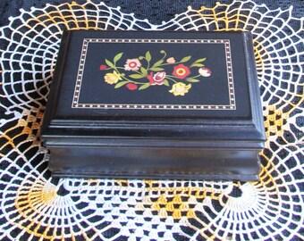 Black Jewelry Box | Vintage Painted Wood