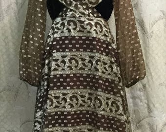 Vintage 1970s Brown and Metallic Gold Maxi Dress