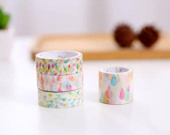 Watercolor Washi Tape, Set of 4 Rolls, Matching Collection, Water Drop, Rain, Shapes, Mixed Sizes, Boxed Masking Adhesive