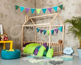 Toddler bed frame FULL/DOUBLE, frame bed, baby room kids nursery bed, montessori kids teepee, wooden bed, home bed, bed house developing toy