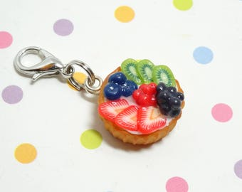 Fruit Tart Charm, Miniature Food Charm, Polymer Clay Charm, Food Charm, Sweet Charm, Tiny Charm, Kawaii Charm, Charm Bracelet, Gift for her