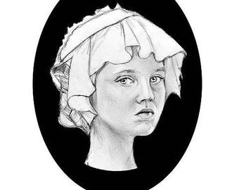 Reproduction portrait girl with headdress • Giclee on natural cotton paper