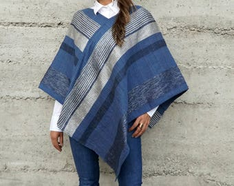 Handwoven Traditional Vieira Poncho in Blue and Silver
