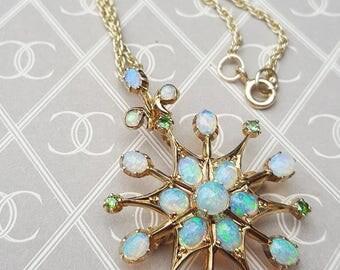 Antique Art Nouveau 15ct Gold Opal & Demantoid Green Garnet Pendant Brooch
