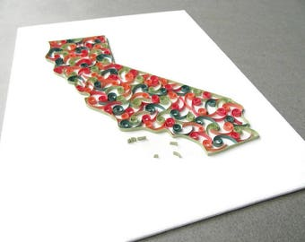 Quilling California Map, California State Map, California Map Art, Quill California Art, California Map Canvas Decor, California State Maps