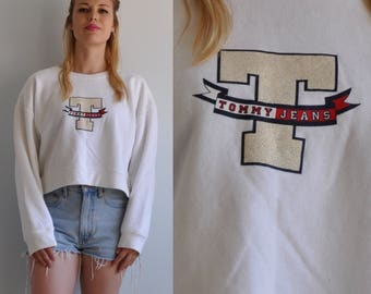 90s Tommy Hilfiger Crop Top T Logo Oversized Sweatshirt // Medium // Tommy Jeans USA Made // 1990s Spice Girls Polo Supreme
