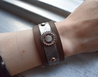 Industrial themed Copper Steel and Leather bracelet...leaning into Steampunk