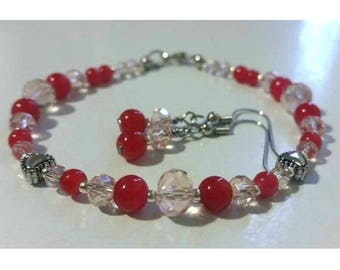 Valentine's Day Red and Pink Bracelet and Earrings Set