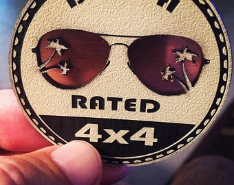 Beach Rated 3D Jeep Badge