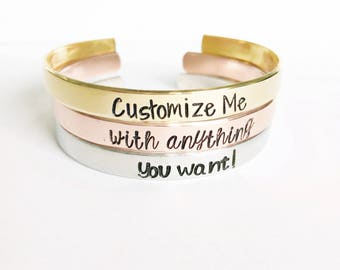 Custom Personalized Bracelet Cuff- Personalized Valentines Gift- Personalized Jewelry - Hand Stamped Bracelet- Name Bracelet - Gift For Her
