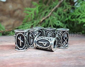 Viking Runes Beard Bead, Futhark Rune Hair Bead / Beard Ring, Asatru Celtic Jewelry Viking Jewelry Norse Dreadlocks 4mm hole