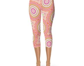 Colorful Capris, Spring Leggings, Bright Patterned Yoga Tights, Pink and Orange Mandala Flower Yoga Pants
