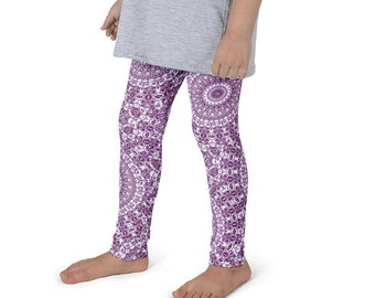 Leggings for Girls, Cute Printed Leggings for Kids, Purple and White Children's Yoga Pants