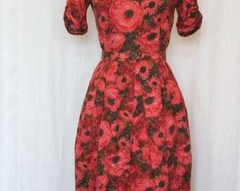 1950s Vintage Dress, Jonathan Logan, 50s Cotton Dress, Pleated Pencil Skirt, XS/S